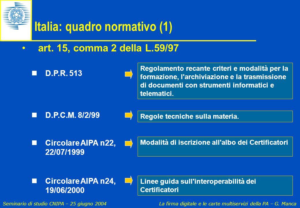 Italia: quadro normativo (1)