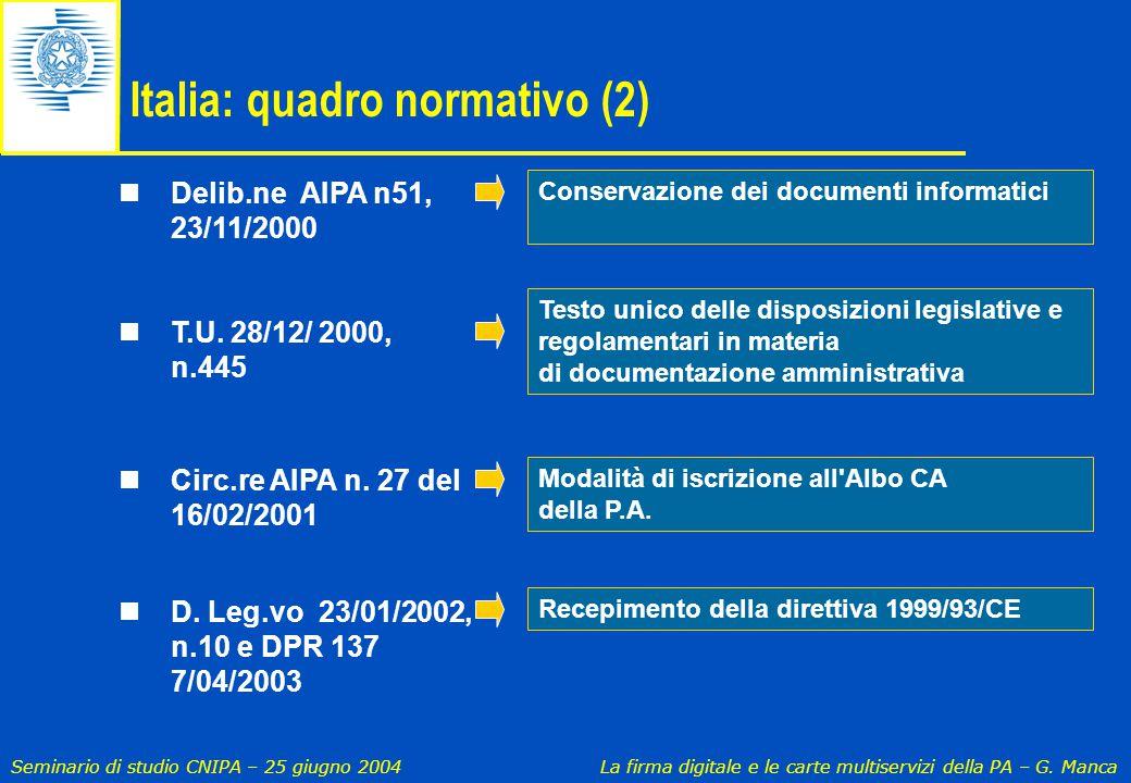 Italia: quadro normativo (2)