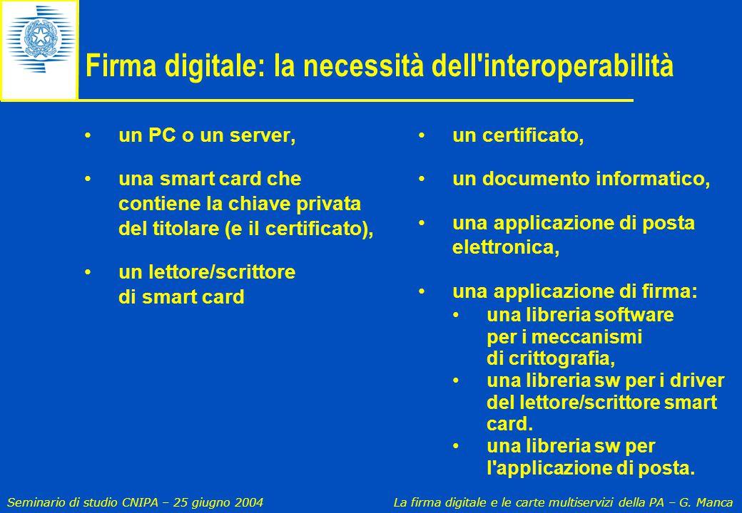Firma digitale: la necessità dell interoperabilità