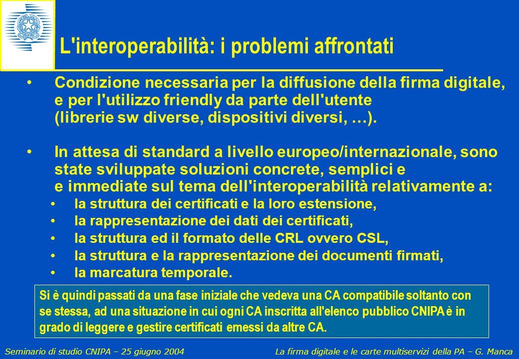 L interoperabilità: i problemi affrontati