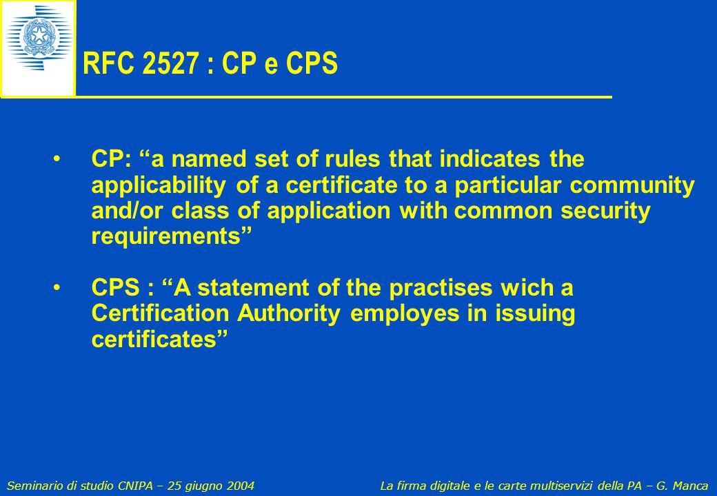 RFC 2527 : CP e CPS