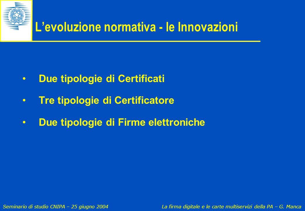 L'evoluzione normativa - le Innovazioni