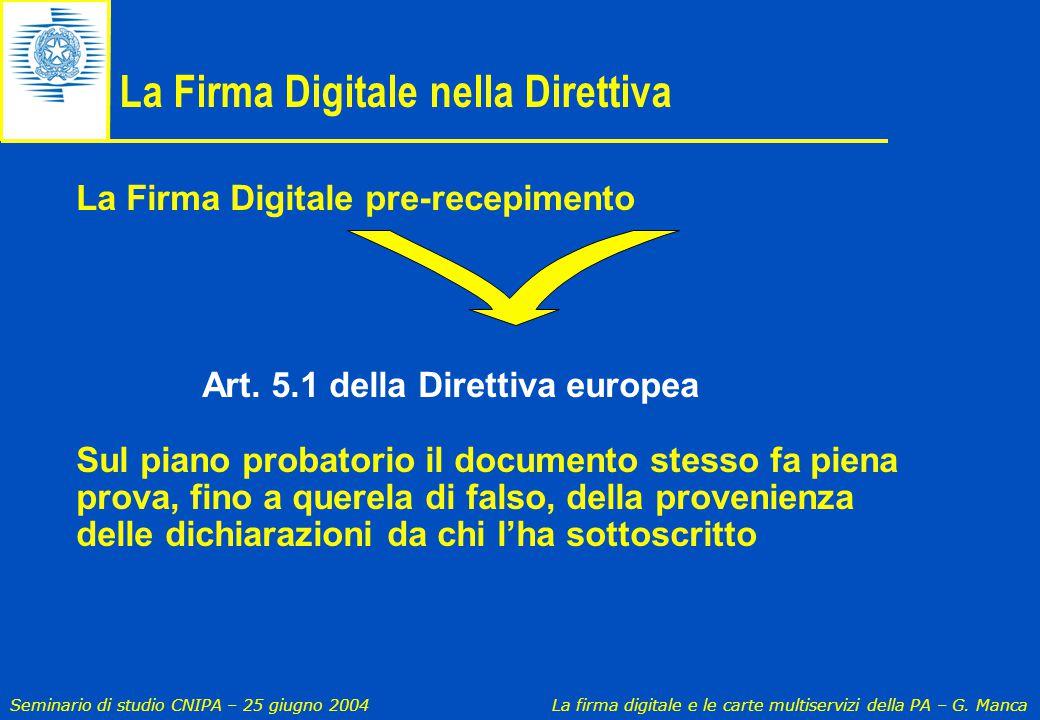La Firma Digitale nella Direttiva