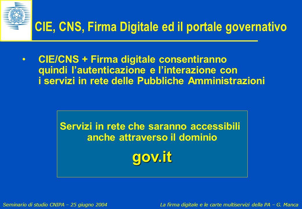 CIE, CNS, Firma Digitale ed il portale governativo