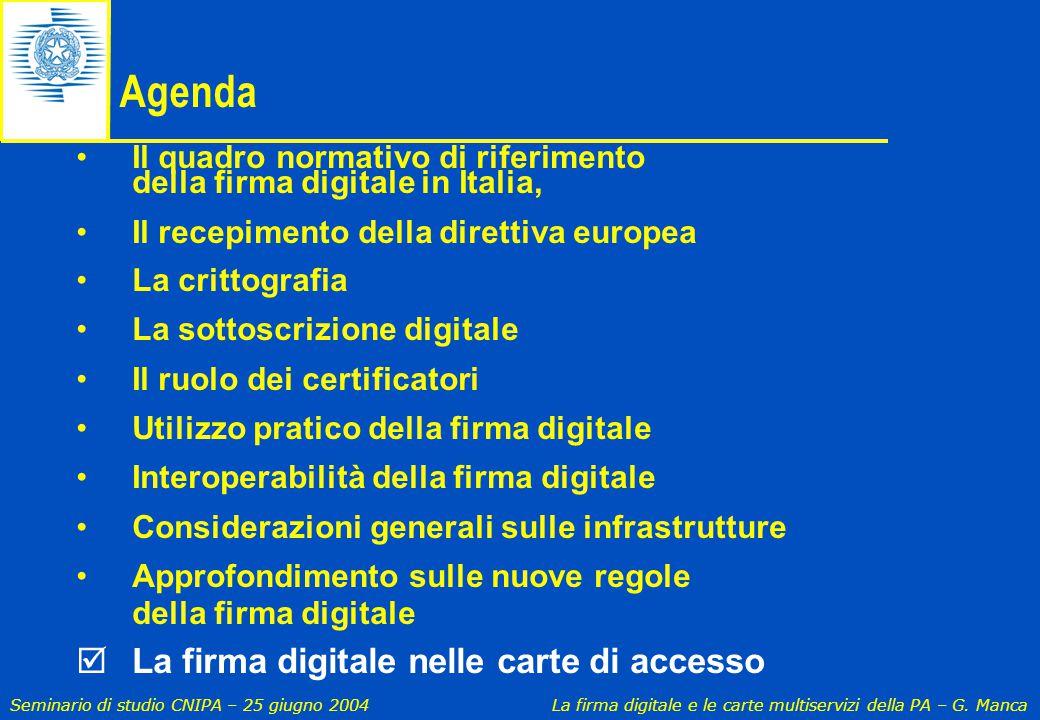 Agenda La firma digitale nelle carte di accesso