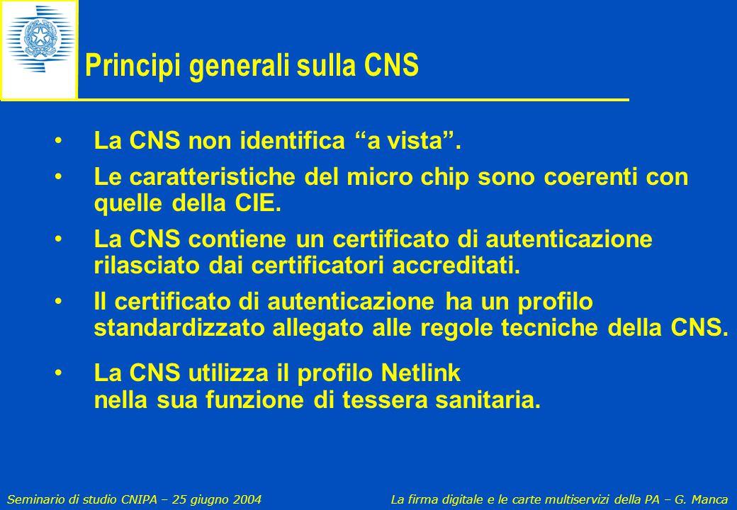 Principi generali sulla CNS