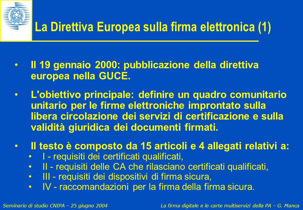 La Direttiva Europea sulla firma elettronica (1)