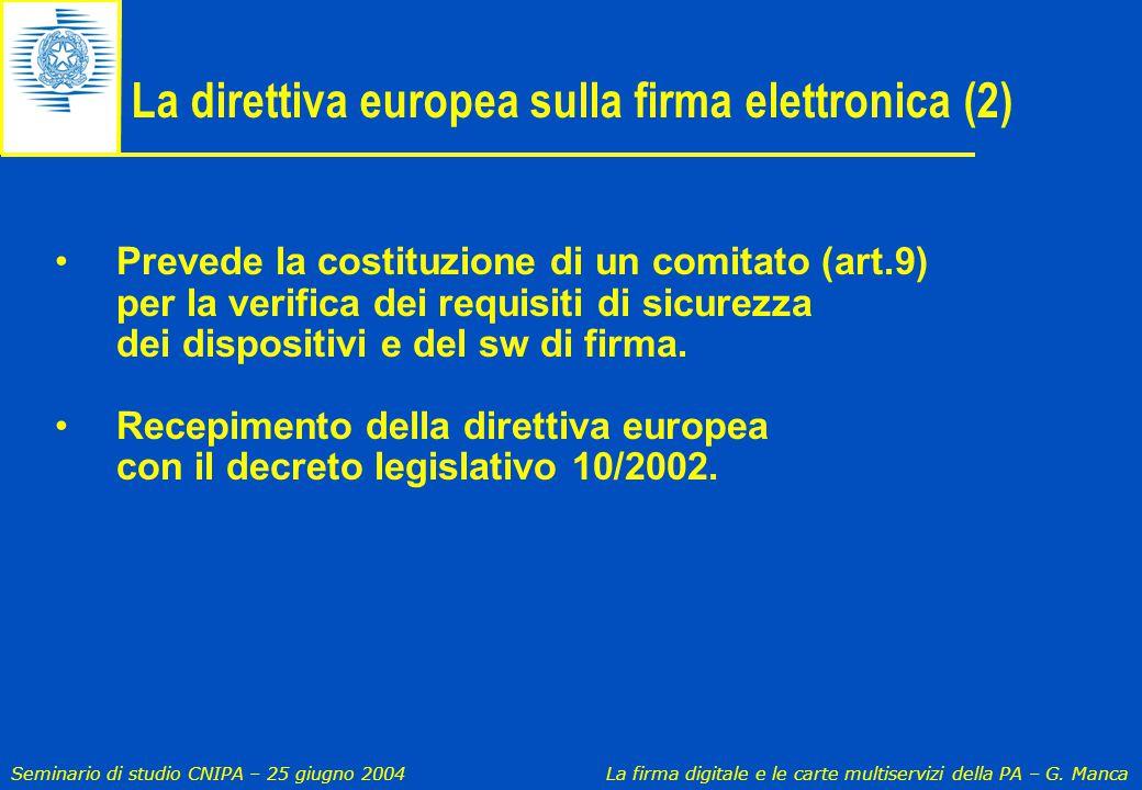 La direttiva europea sulla firma elettronica (2)