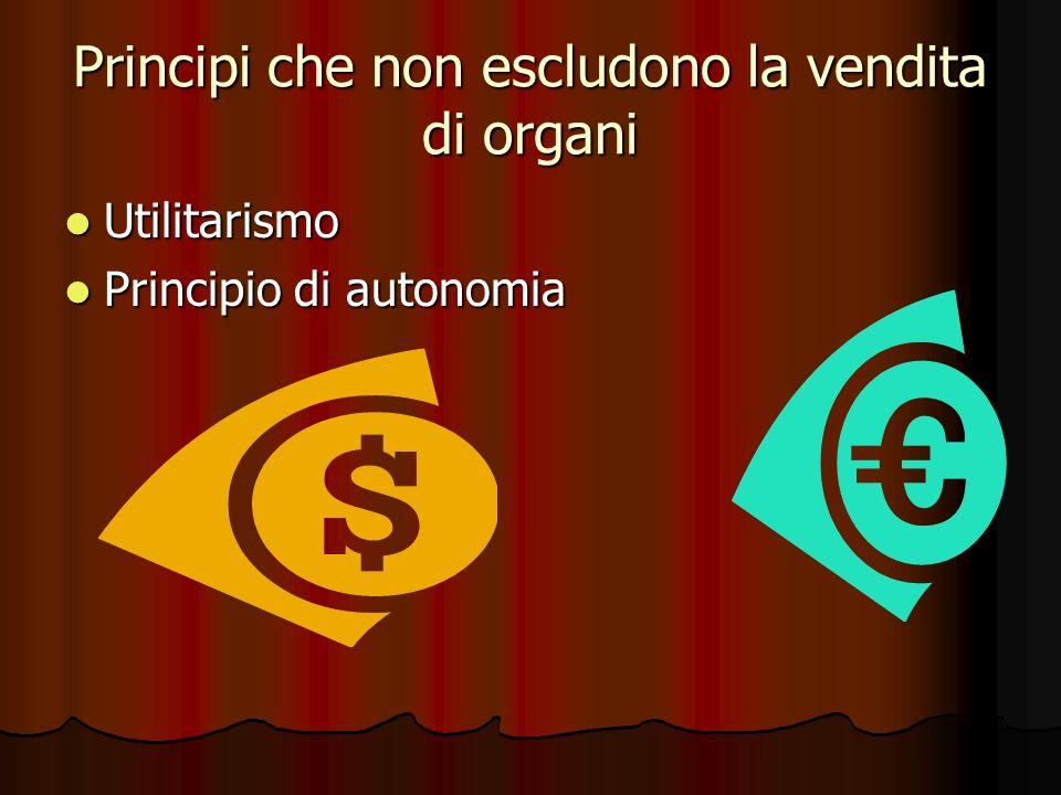 Principi che non escludono la vendita di organi