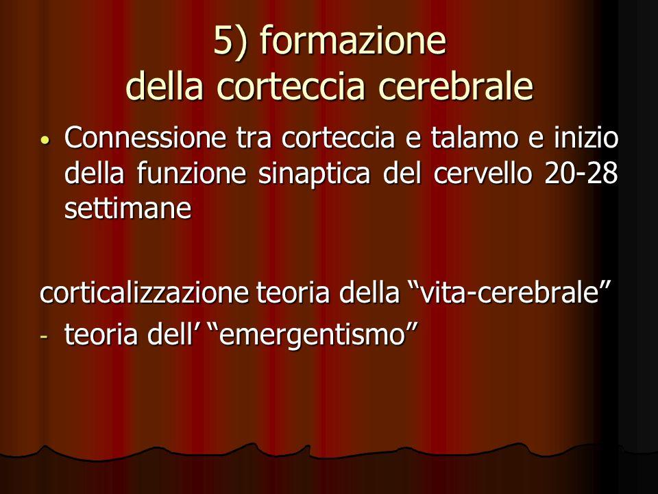 5) formazione della corteccia cerebrale