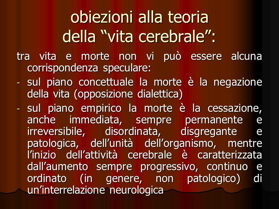 obiezioni alla teoria della vita cerebrale :