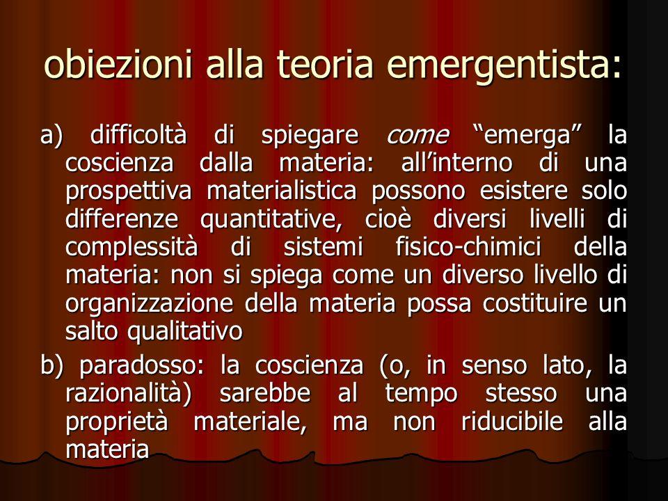 obiezioni alla teoria emergentista: