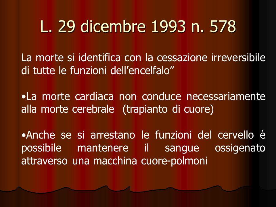 L. 29 dicembre 1993 n. 578 La morte si identifica con la cessazione irreversibile di tutte le funzioni dell'encelfalo
