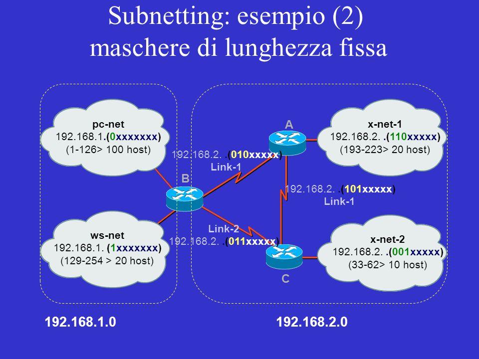 Subnetting: esempio (2) maschere di lunghezza fissa