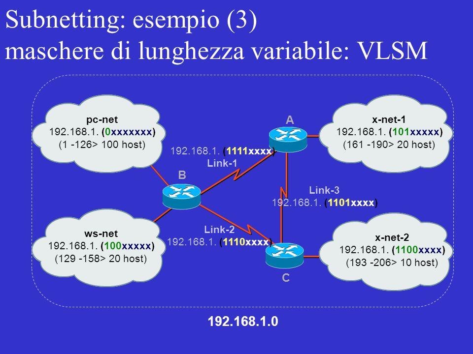 Subnetting: esempio (3) maschere di lunghezza variabile: VLSM