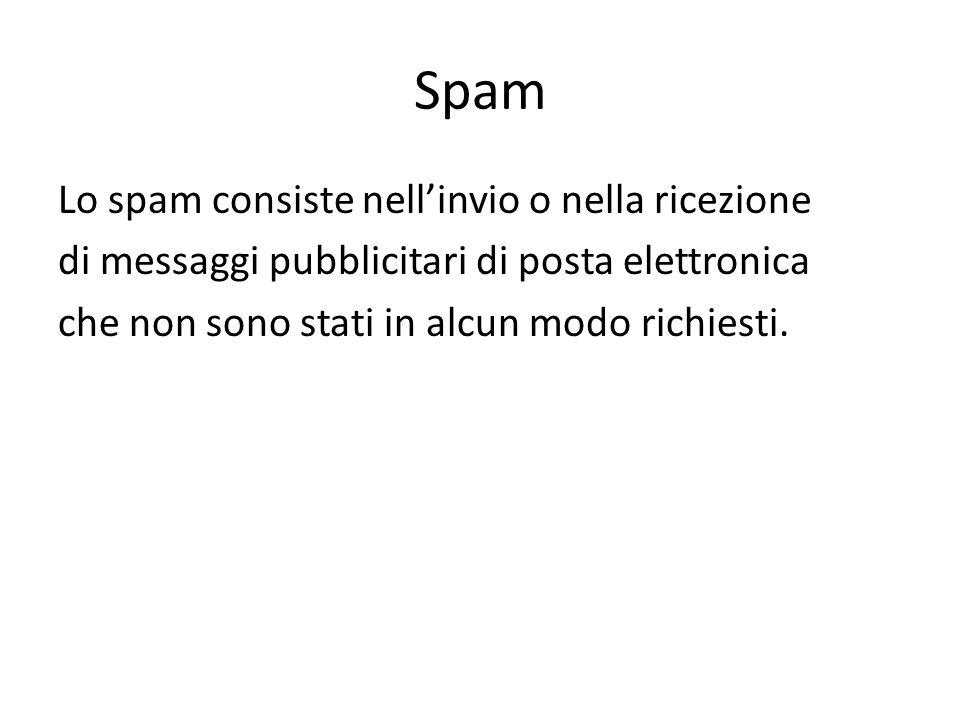 Spam Lo spam consiste nell'invio o nella ricezione