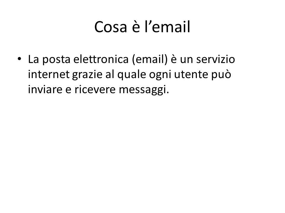 Cosa è l'email La posta elettronica (email) è un servizio internet grazie al quale ogni utente può inviare e ricevere messaggi.