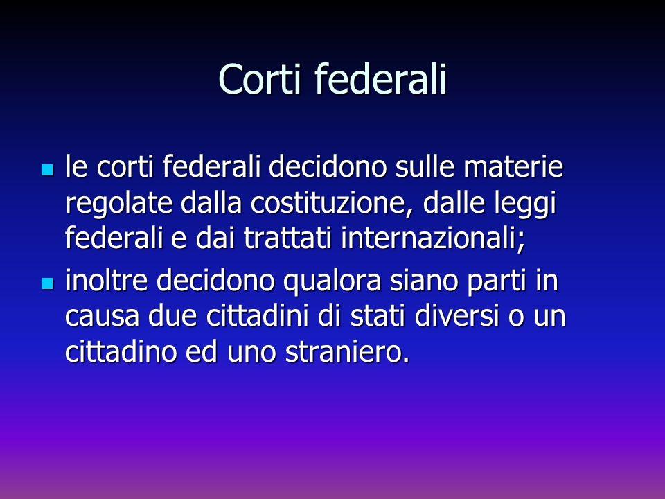 Corti federali le corti federali decidono sulle materie regolate dalla costituzione, dalle leggi federali e dai trattati internazionali;