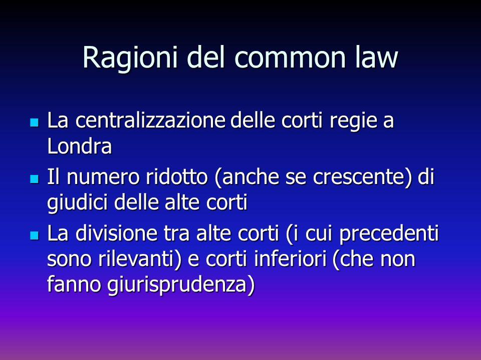 Ragioni del common law La centralizzazione delle corti regie a Londra
