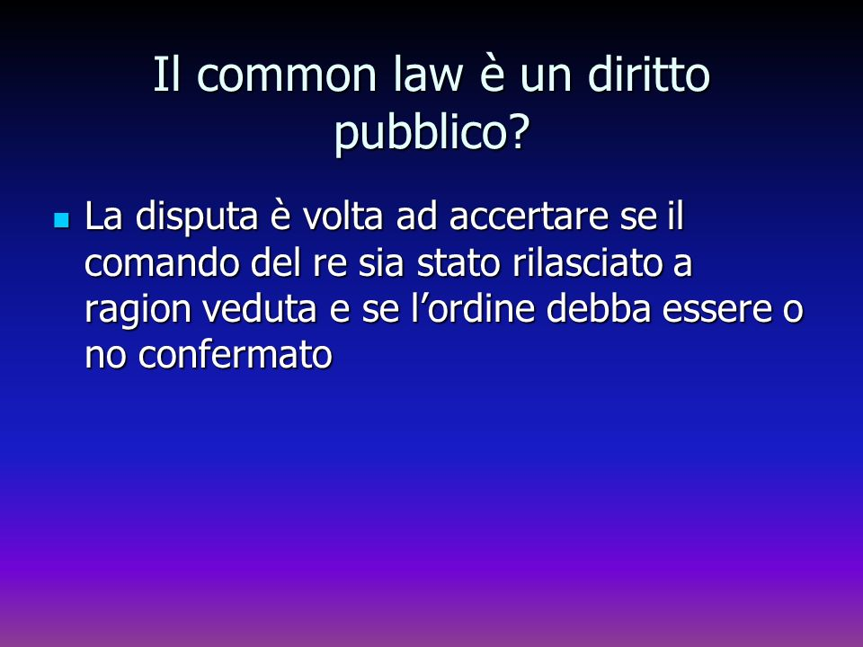 Il common law è un diritto pubblico
