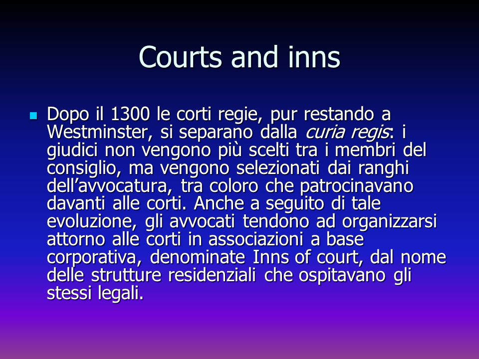 Courts and inns