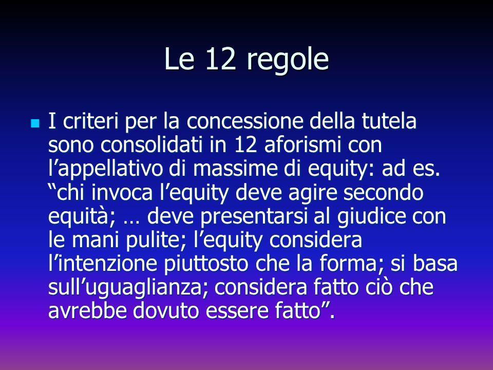 Le 12 regole