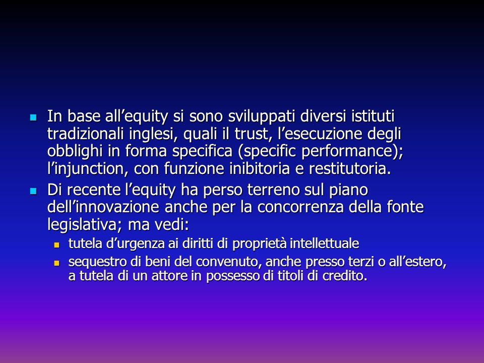In base all'equity si sono sviluppati diversi istituti tradizionali inglesi, quali il trust, l'esecuzione degli obblighi in forma specifica (specific performance); l'injunction, con funzione inibitoria e restitutoria.