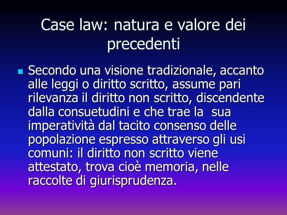 Case law: natura e valore dei precedenti