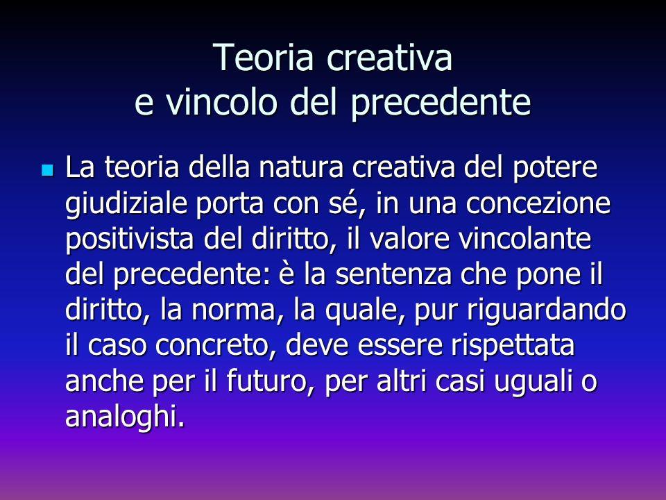 Teoria creativa e vincolo del precedente