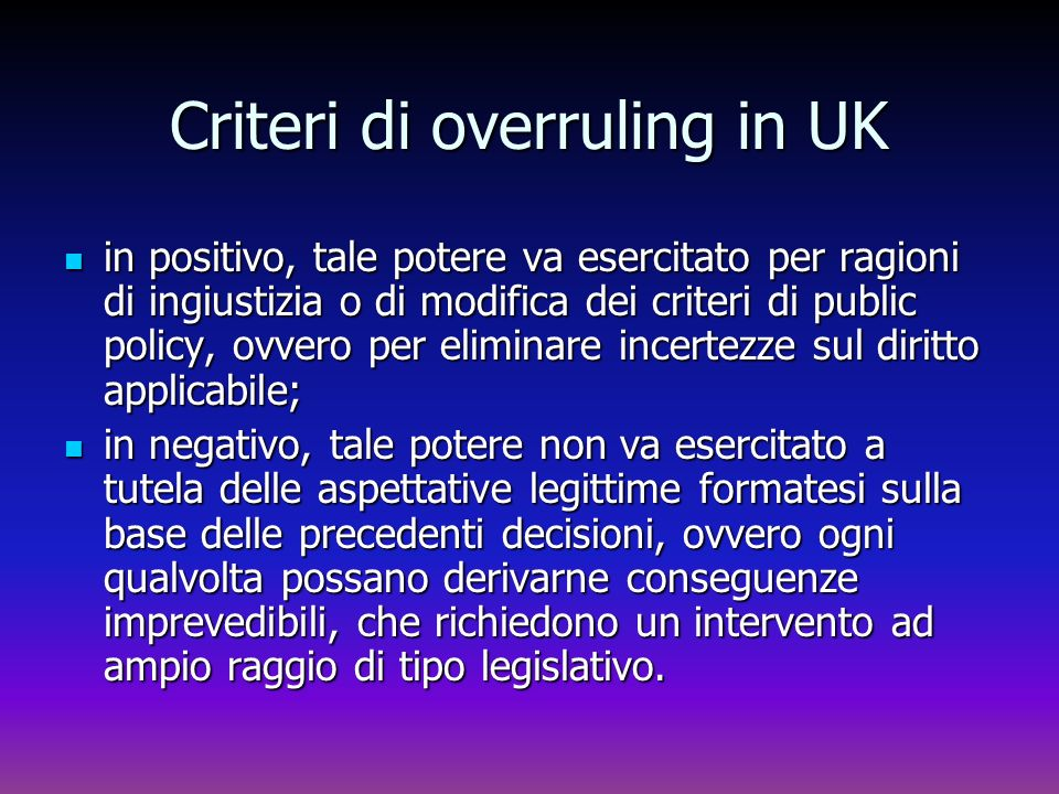 Criteri di overruling in UK