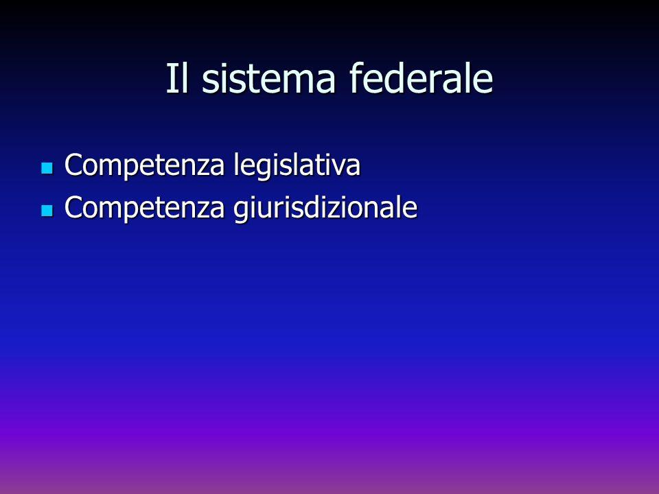 Il sistema federale Competenza legislativa Competenza giurisdizionale