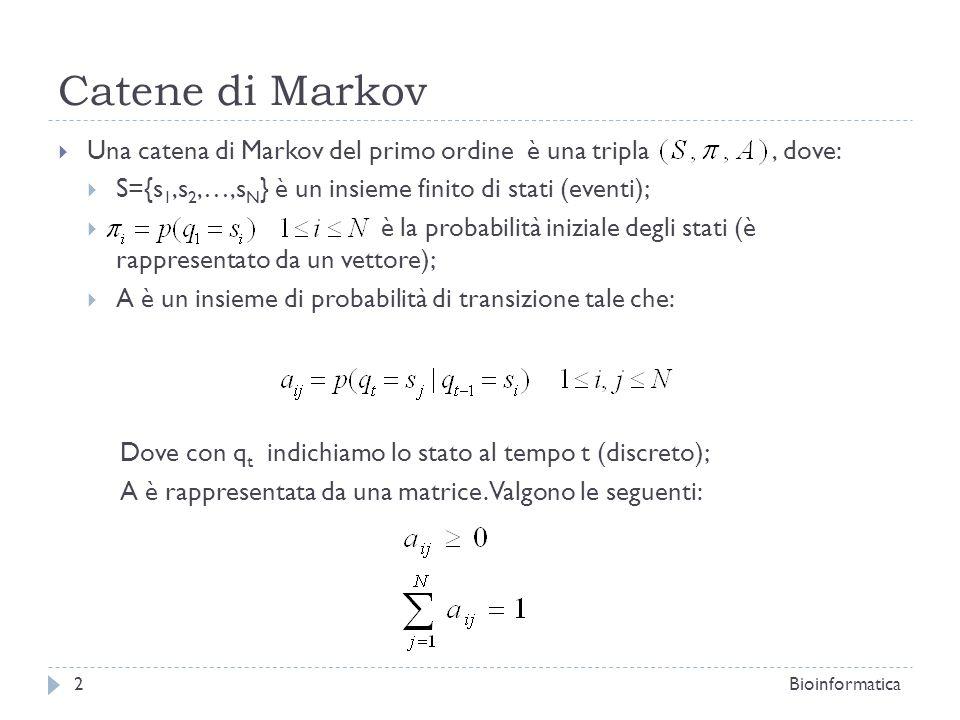 Catene di Markov Una catena di Markov del primo ordine è una tripla , dove: S={s1,s2,…,sN} è un insieme finito di stati (eventi);