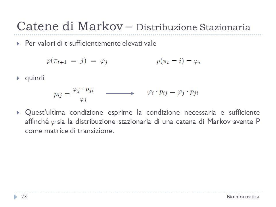 Catene di Markov – Distribuzione Stazionaria