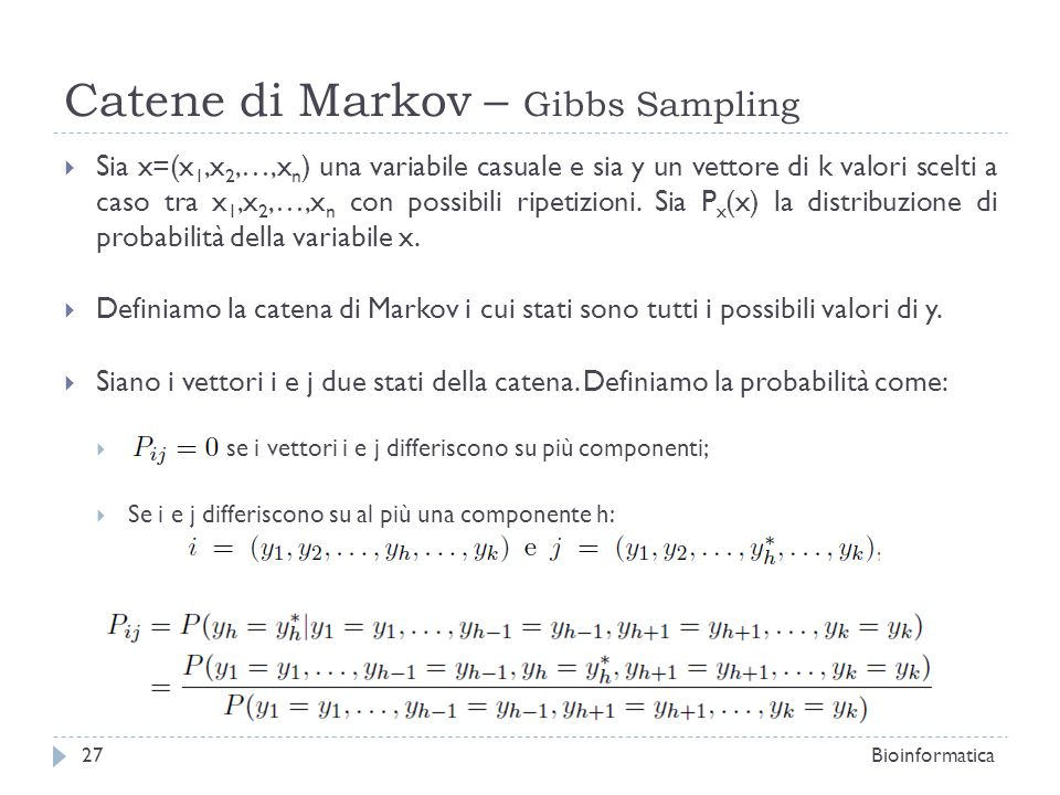 Catene di Markov – Gibbs Sampling