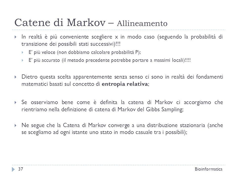 Catene di Markov – Allineamento