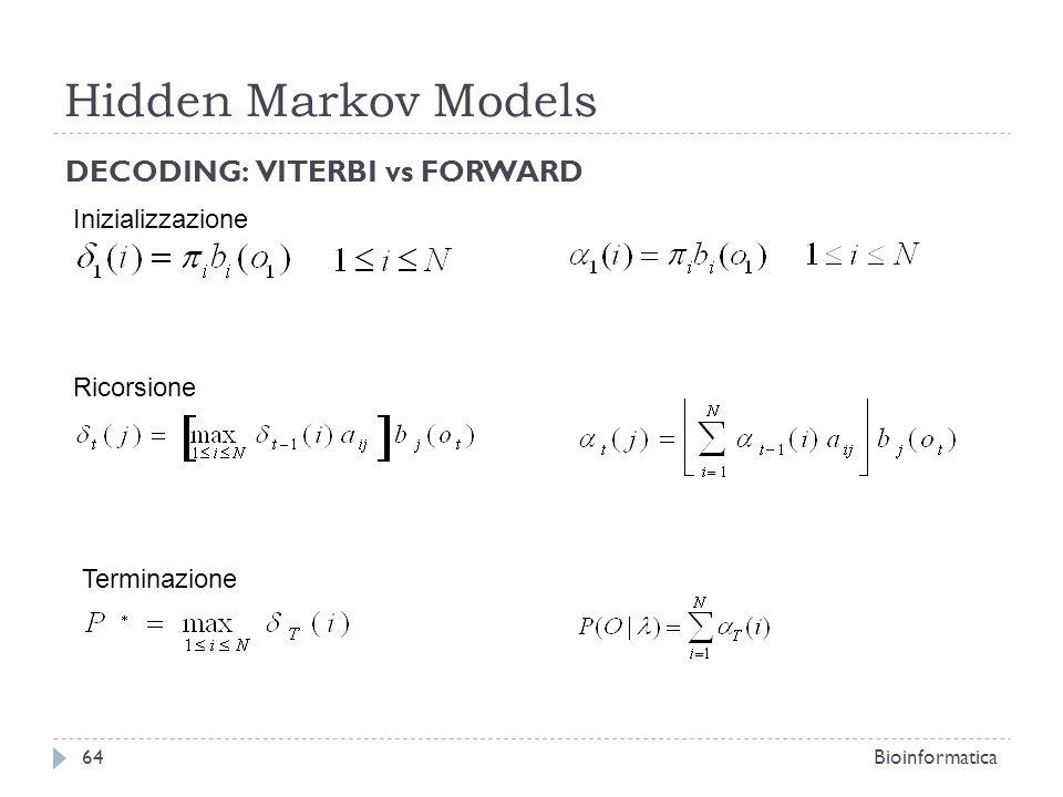 Hidden Markov Models DECODING: VITERBI vs FORWARD Inizializzazione