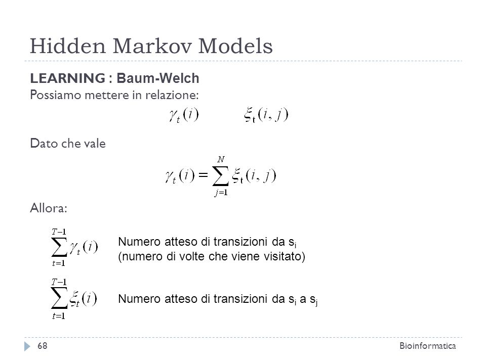 Hidden Markov Models LEARNING : Baum-Welch