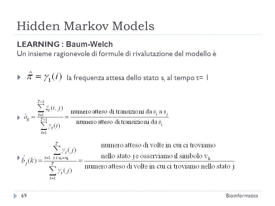 Hidden Markov Models la frequenza attesa dello stato si al tempo t= 1