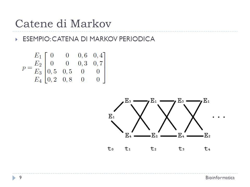 Catene di Markov ESEMPIO: CATENA DI MARKOV PERIODICA Bioinformatica