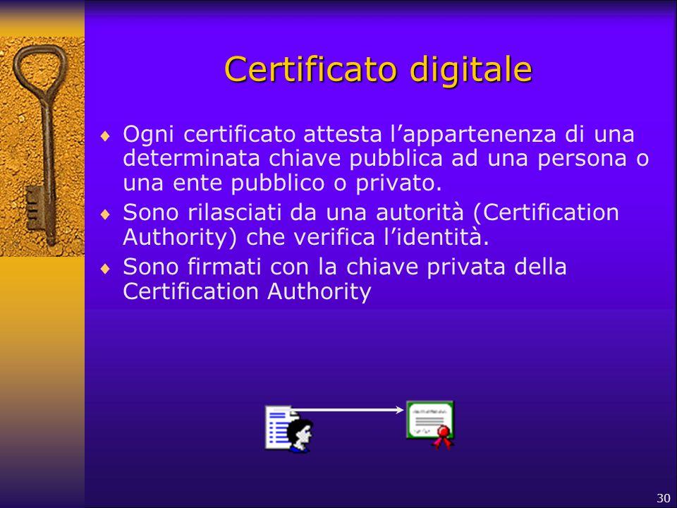 Certificato digitale Ogni certificato attesta l'appartenenza di una determinata chiave pubblica ad una persona o una ente pubblico o privato.