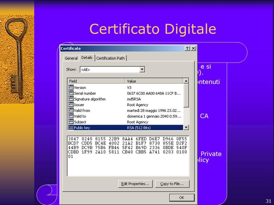 Certificato Digitale I certificati digitali hanno un formato comune e si basano sullo standard X.509v3 (RFC 2459).