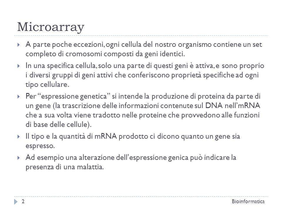 MicroarrayA parte poche eccezioni, ogni cellula del nostro organismo contiene un set completo di cromosomi composti da geni identici.