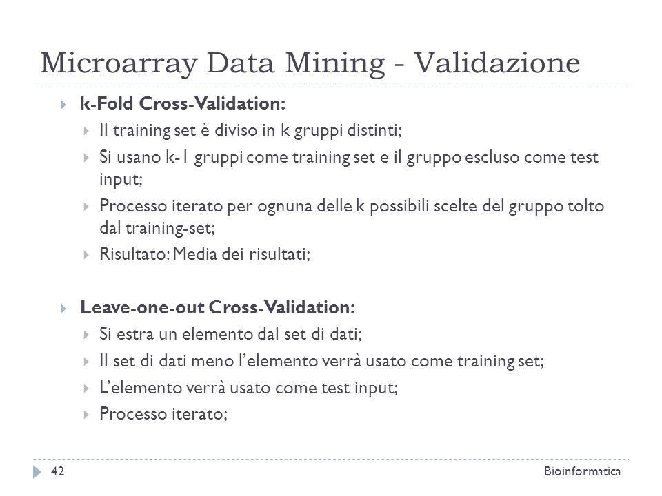 Microarray Data Mining - Validazione
