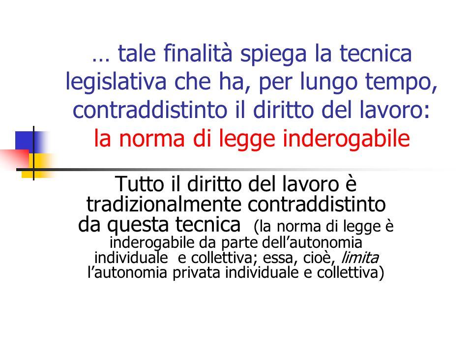 … tale finalità spiega la tecnica legislativa che ha, per lungo tempo, contraddistinto il diritto del lavoro: la norma di legge inderogabile