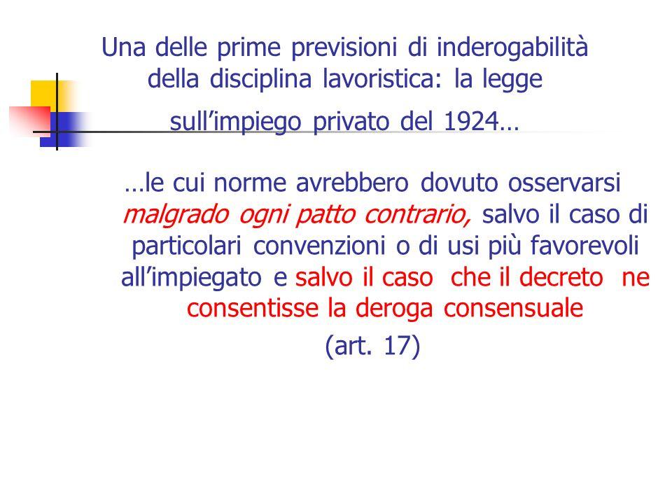 Una delle prime previsioni di inderogabilità della disciplina lavoristica: la legge sull'impiego privato del 1924…