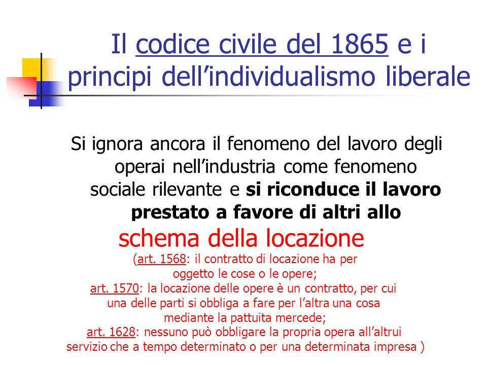 Il codice civile del 1865 e i principi dell'individualismo liberale
