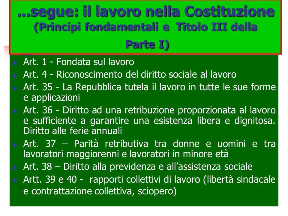 ...segue: il lavoro nella Costituzione (Principi fondamentali e Titolo III della Parte I)