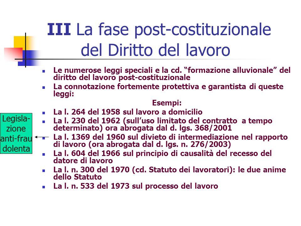 III La fase post-costituzionale del Diritto del lavoro