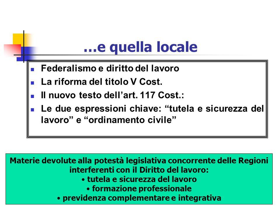 …e quella locale Federalismo e diritto del lavoro
