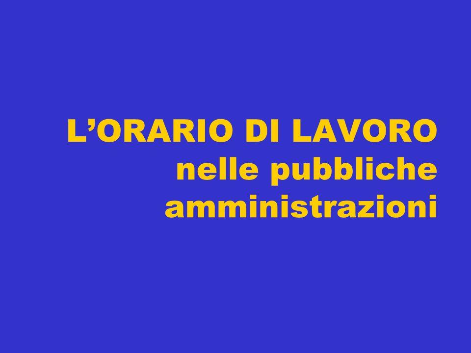 L'ORARIO DI LAVORO nelle pubbliche amministrazioni
